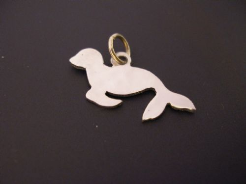 Baby Seal Charm silhouette solid sterling silver Handmade in the Uk